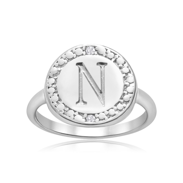 """N"" Initial Diamond Ring in Sterling Silver, J/K by SuperJeweler"