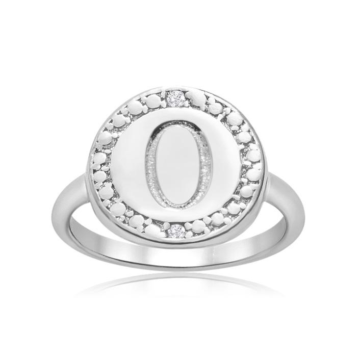 """O"" Initial Diamond Ring in Sterling Silver, J/K by SuperJeweler"