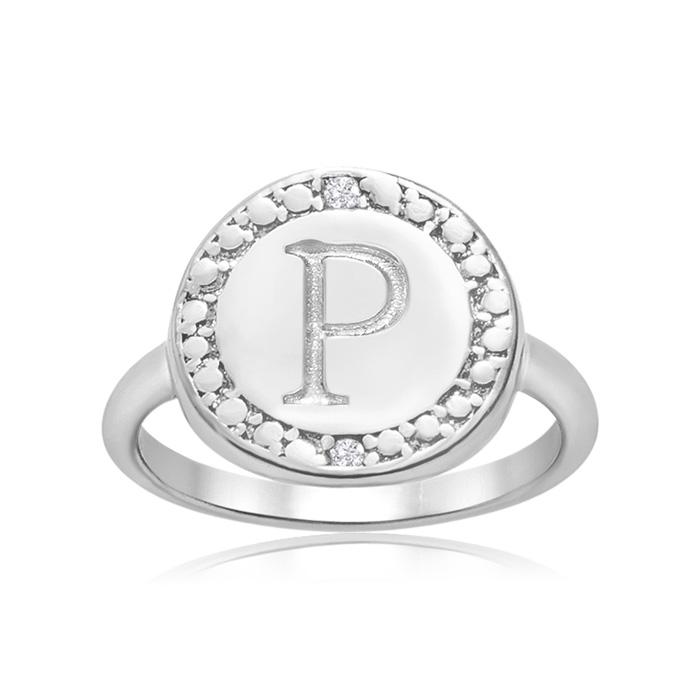 """P"" Initial Diamond Ring in Sterling Silver, J/K by SuperJeweler"