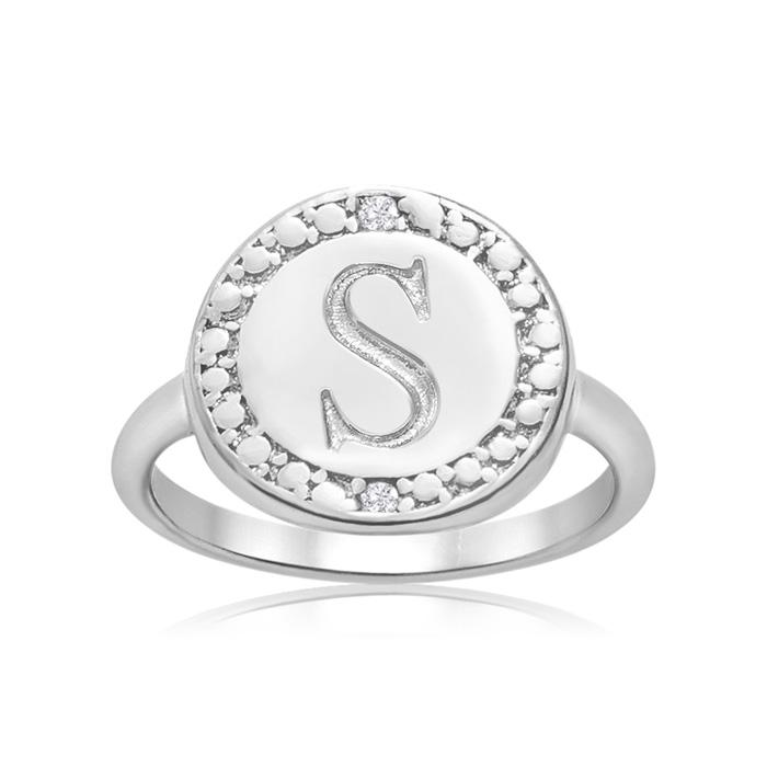 """S"" Initial Diamond Ring in Sterling Silver, J/K by SuperJeweler"