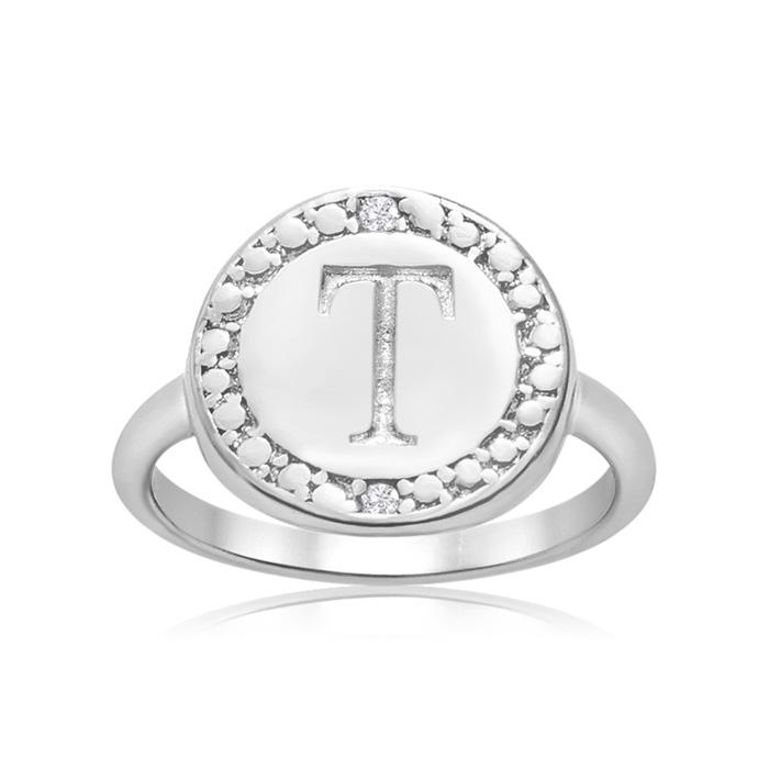 """T"" Initial Diamond Ring in Sterling Silver, J/K by SuperJeweler"