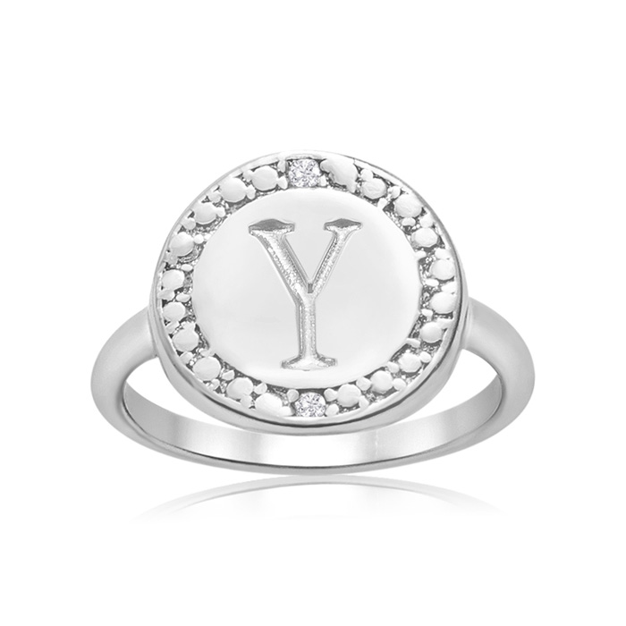 """Y"" Initial Diamond Ring in Sterling Silver, J/K by SuperJeweler"