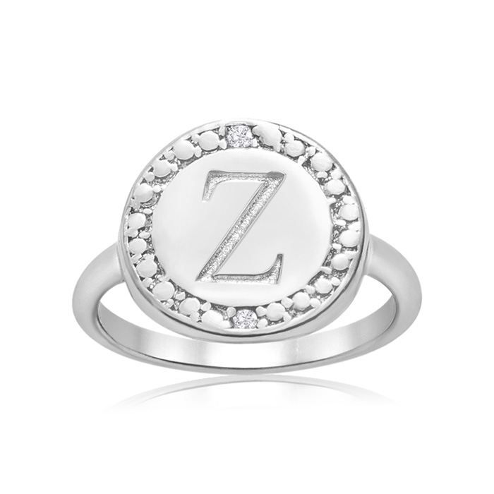 """Z"" Initial Diamond Ring in Sterling Silver, J/K by SuperJeweler"