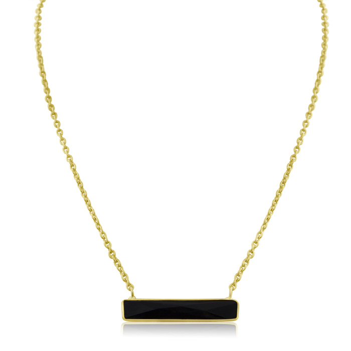 10 Carat Black Onyx Bar Necklace in Yellow Gold Over Sterling Sil