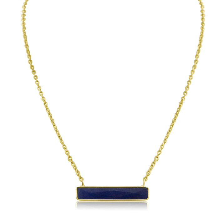 10 Carat Sapphire Bar Necklace in Yellow Gold Over Sterling Silve