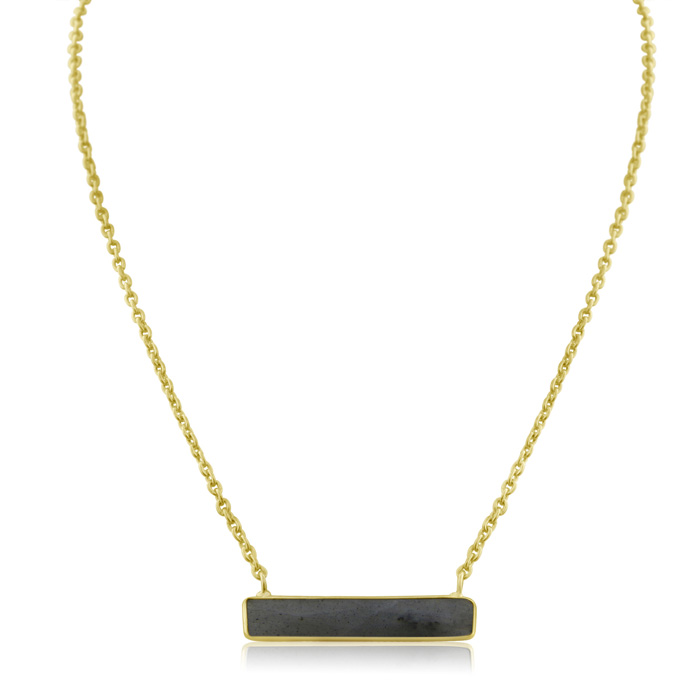 10 Carat Labradorite Bar Necklace in Yellow Gold Over Sterling Si