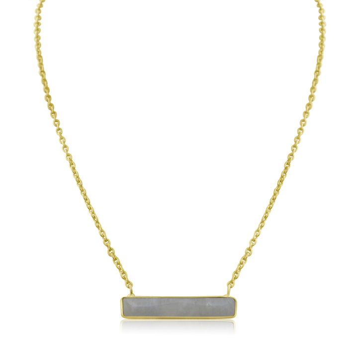 10 Carat Moonstone Bar Necklace in Yellow Gold Over Sterling Silv