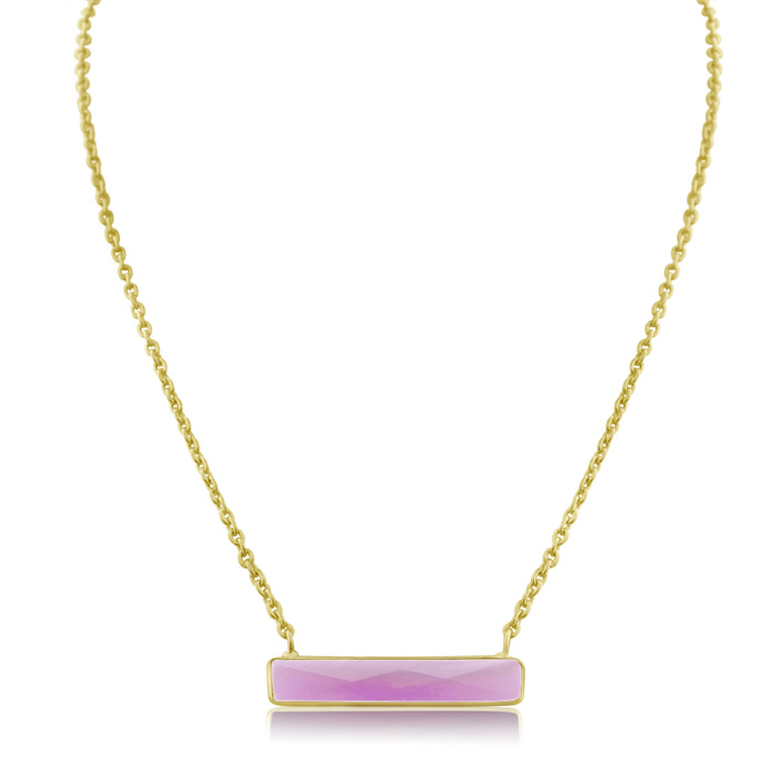 10 Carat Raspberry Quartz Bar Necklace in Yellow Gold Over Sterling Silver Overlay, 15 Inch Chain by Sundar Gem