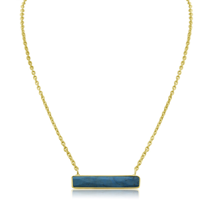 10 Carat Turquoise Bar Necklace in Yellow Gold Over Sterling Silver Overlay, 15 Inch Chain by Sundar Gem