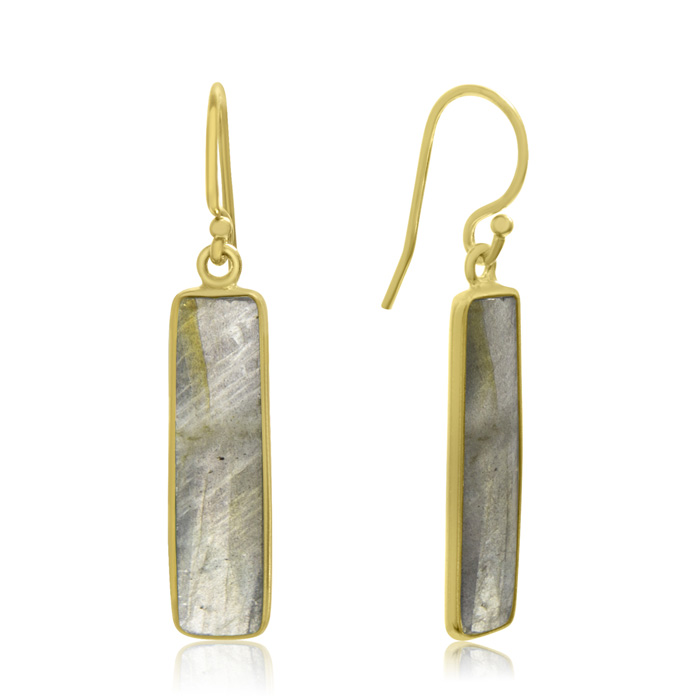 10 Carat Pyrite Bar Earrings in 14kt Yellow Gold Over Sterling Si