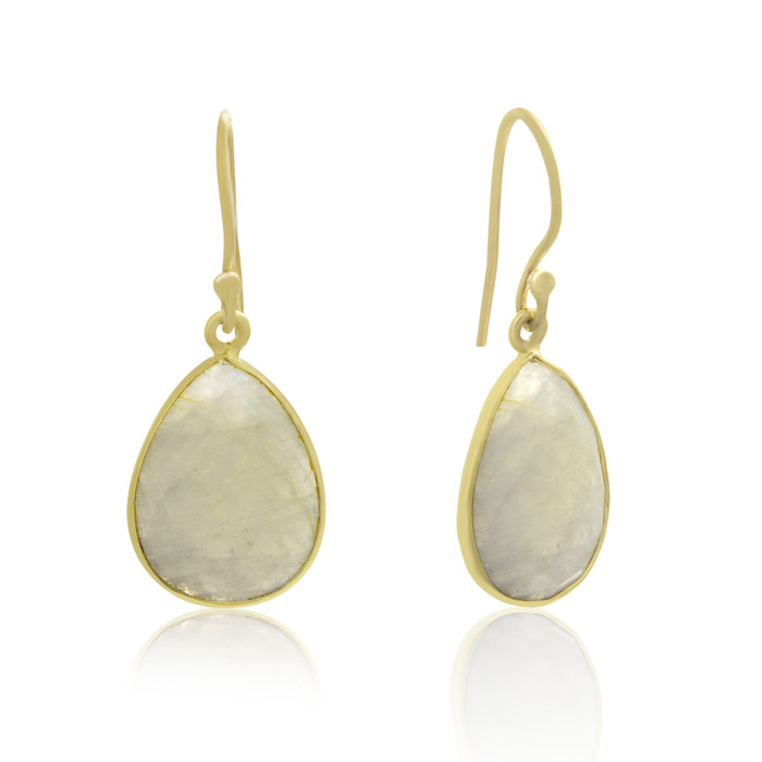 12 Carat Moonstone Pear Shape Earrings in 18K Gold Overlay by Sun