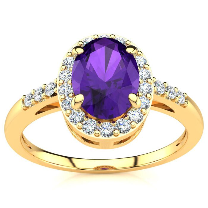3/4 Carat Oval Shape Amethyst & Halo Diamond Ring in 14K Yellow G
