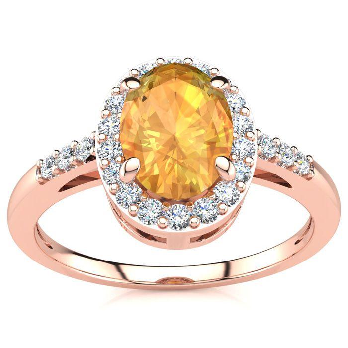 1/2 Carat Oval Shape Citrine & Halo Diamond Ring in 14K Rose Gold