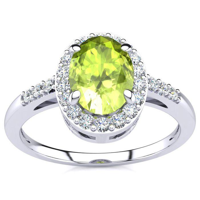 1 Carat Oval Shape Peridot & Halo Diamond Ring in 14K White Gold