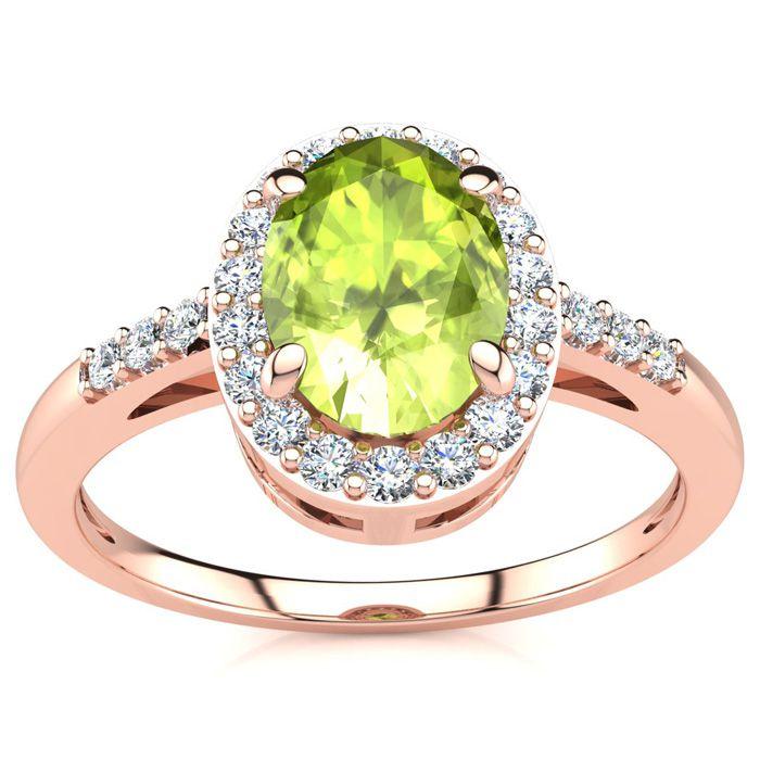 1 Carat Oval Shape Peridot & Halo Diamond Ring in 14K Rose Gold (