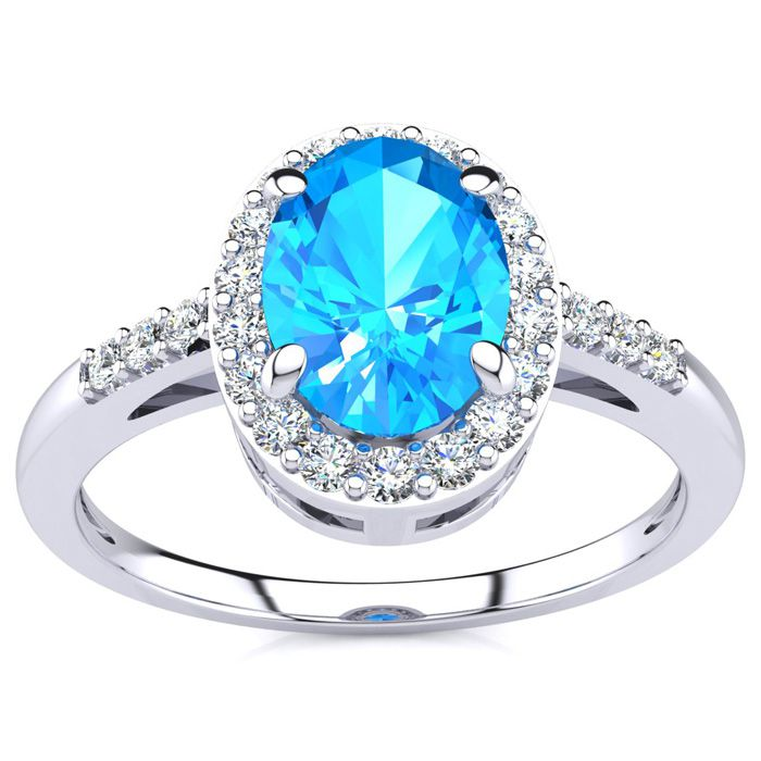 1 Carat Oval Shape Blue Topaz & Halo Diamond Ring in 14K White Go