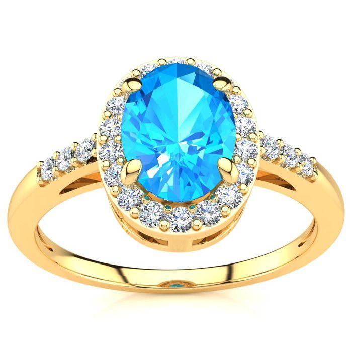 1 Carat Oval Shape Blue Topaz & Halo Diamond Ring in 14K Yellow Gold (3 g), I/J by SuperJeweler