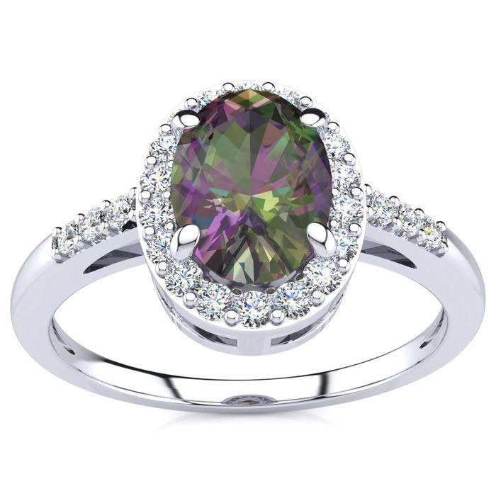 3/4 Carat Oval Shape Mystic Topaz & Halo Diamond Ring in 14K Whit