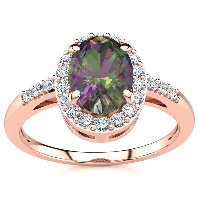 3/4 Carat Oval Shape Mystic Topaz & Halo Diamond Ring in 14K Rose Gold (3 g), I/J by SuperJeweler