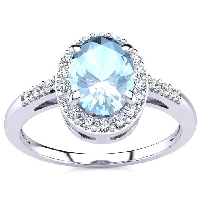 1 Carat Oval Shape Aquamarine & Halo Diamond Ring in 14K White Go