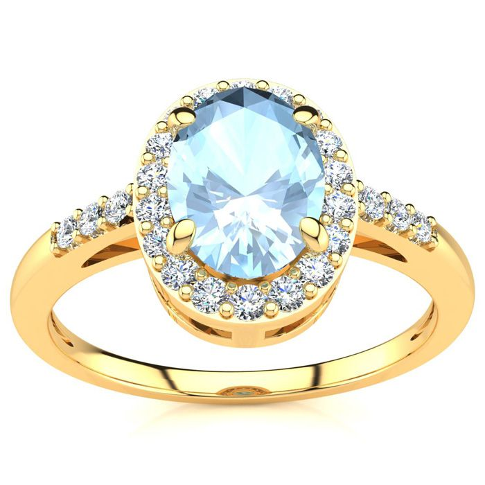 1 Carat Oval Shape Aquamarine & Halo Diamond Ring in 14K Yellow G