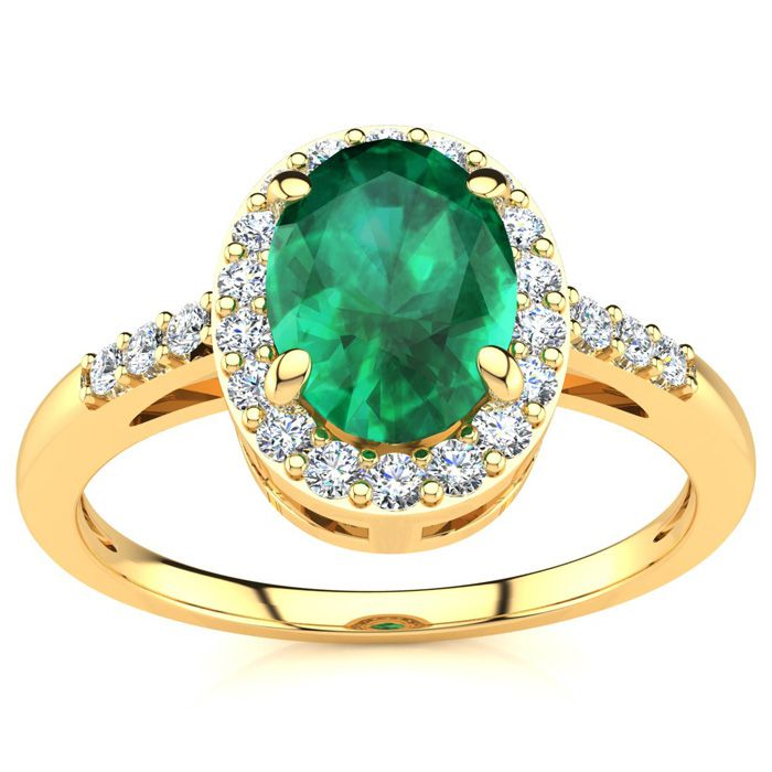 1 Carat Oval Shape Emerald Cut & Halo Diamond Ring in 14K Yellow