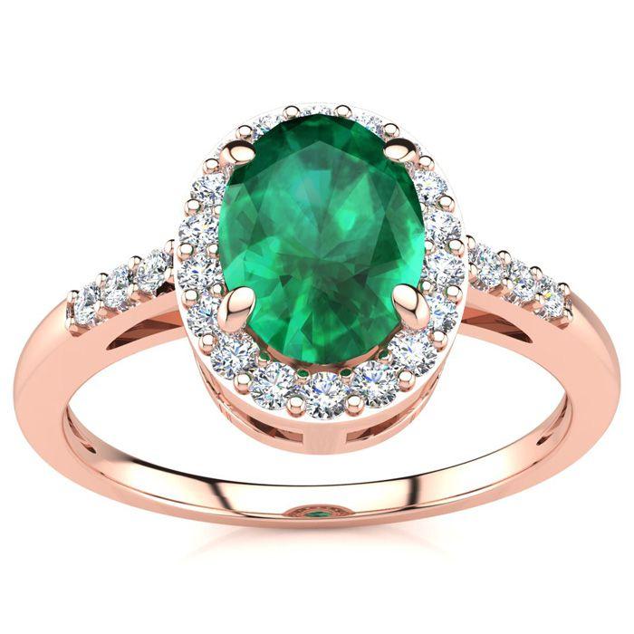 1 Carat Oval Shape Emerald Cut & Halo Diamond Ring in 14K Rose Go