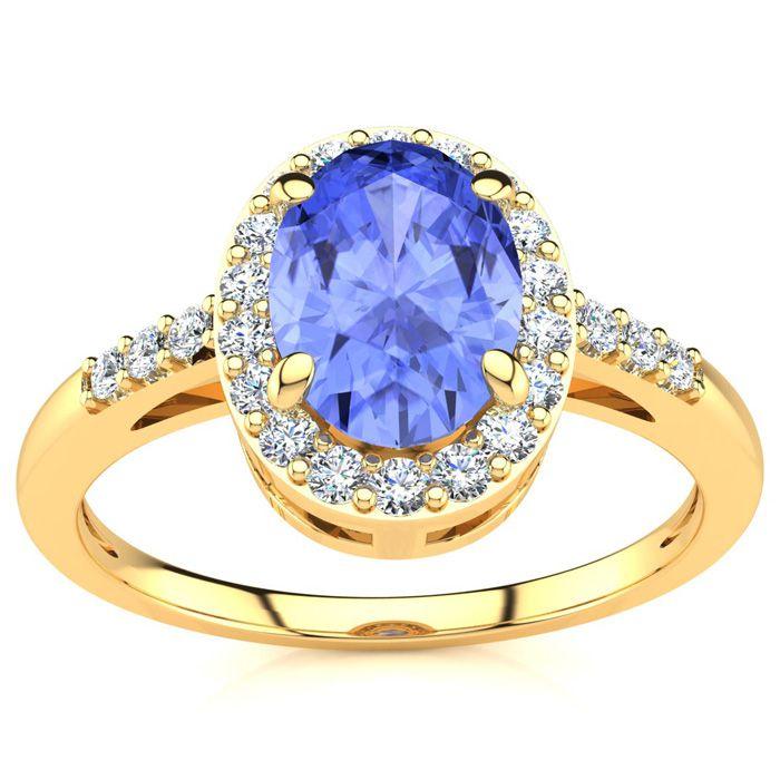 1 Carat Oval Shape Tanzanite & Halo Diamond Ring in 14K Yellow Go