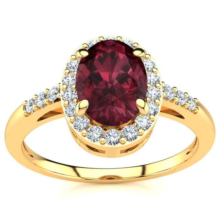 1 Carat Oval Shape Garnet & Halo Diamond Ring in 14K Yellow Gold (3 g), I/J by SuperJeweler