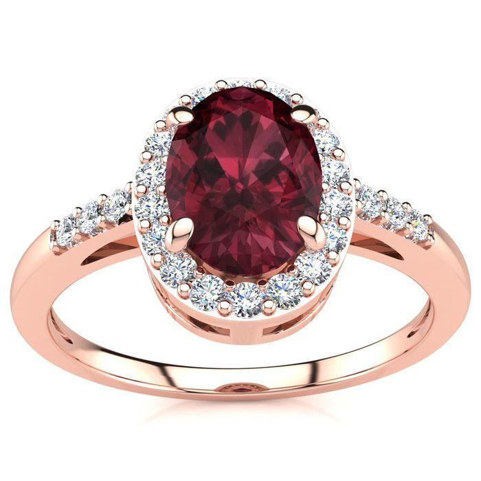 1 Carat Oval Shape Garnet & Halo Diamond Ring in 14K Rose Gold (3