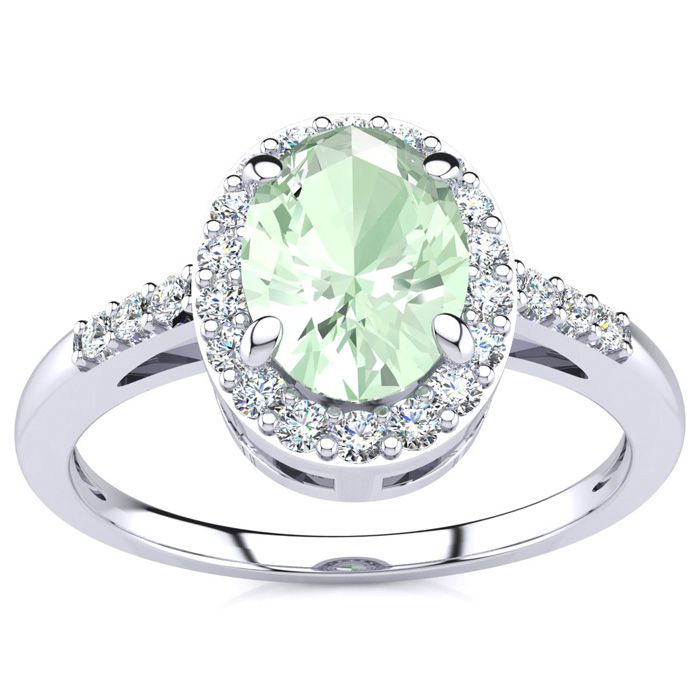 3/4 Carat Oval Shape Green Amethyst & Halo Diamond Ring in 14K Wh
