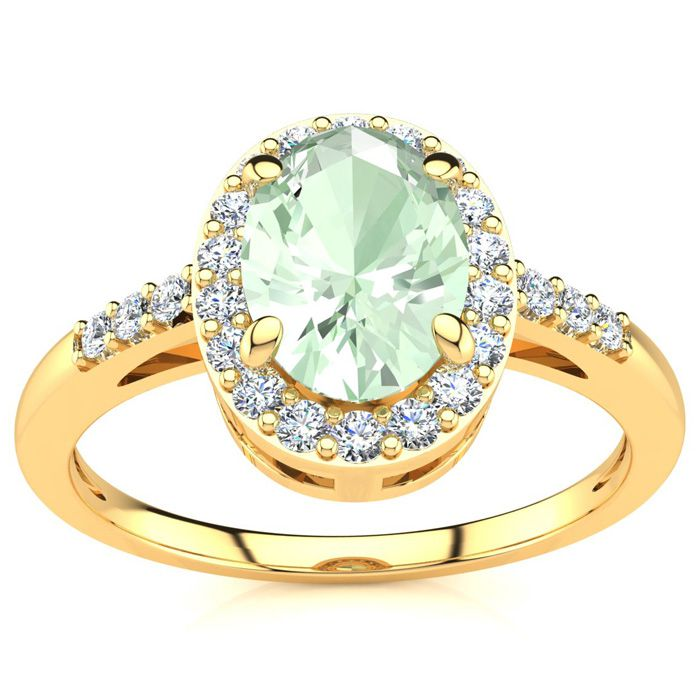 3/4 Carat Oval Shape Green Amethyst and Halo Diamond Ring In 14K Yellow Gold