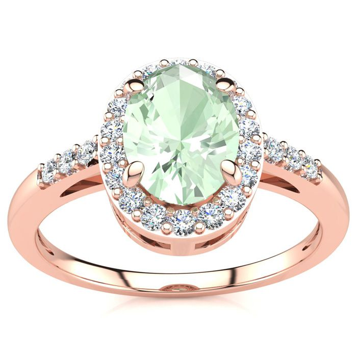 3/4 Carat Oval Shape Green Amethyst & Halo Diamond Ring in 14K Ro