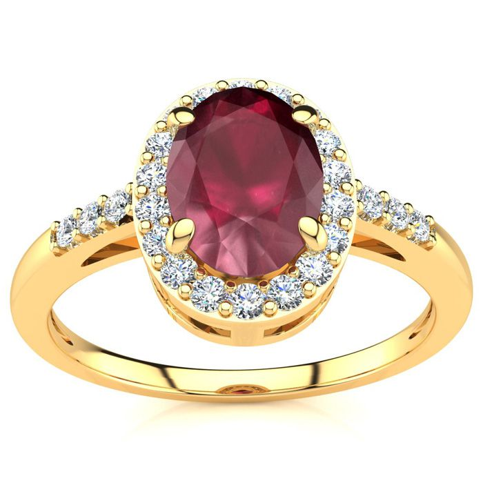 1 Carat Oval Shape Ruby & Halo Diamond Ring in 14K Yellow Gold (3