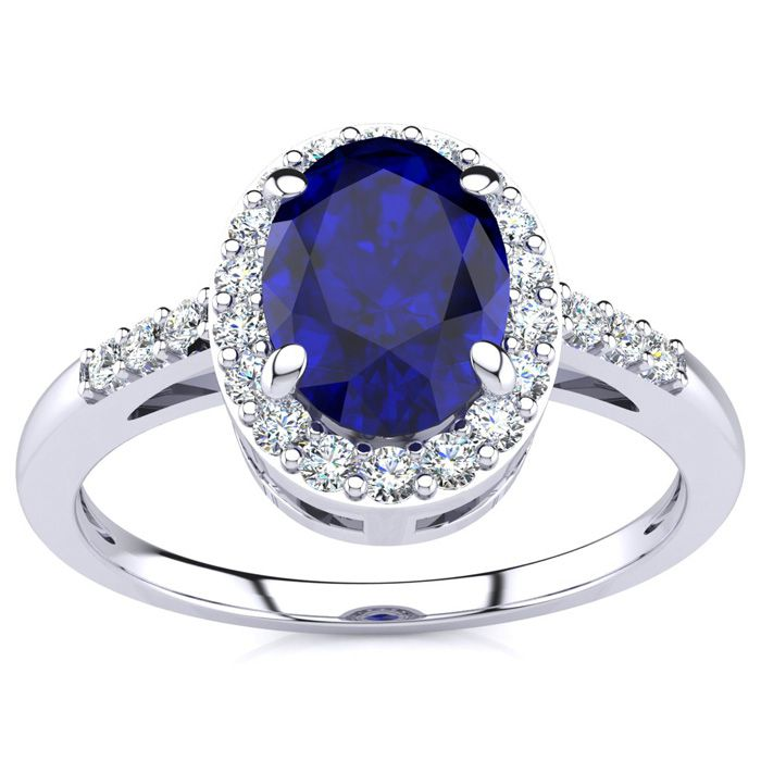 1 Carat Oval Shape Sapphire & Halo Diamond Ring in 14K White Gold