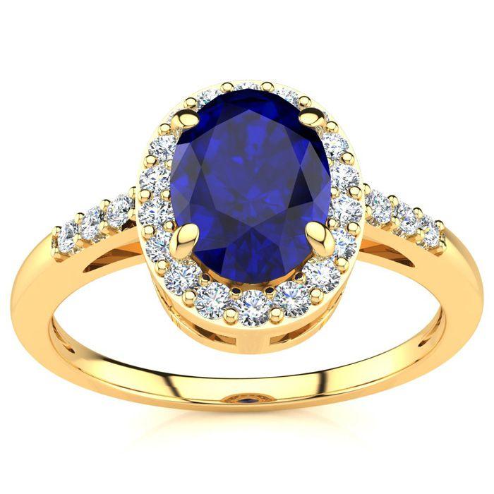 1 Carat Oval Shape Sapphire & Halo Diamond Ring in 14K Yellow Gol