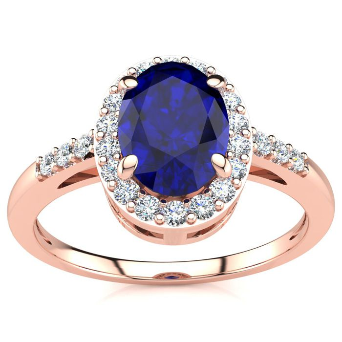 1 Carat Oval Shape Sapphire & Halo Diamond Ring in 14K Rose Gold