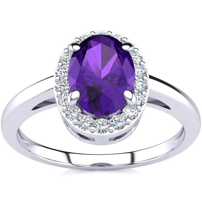 3/4 Carat Oval Shape Amethyst & Halo Diamond Ring in 14K White Go