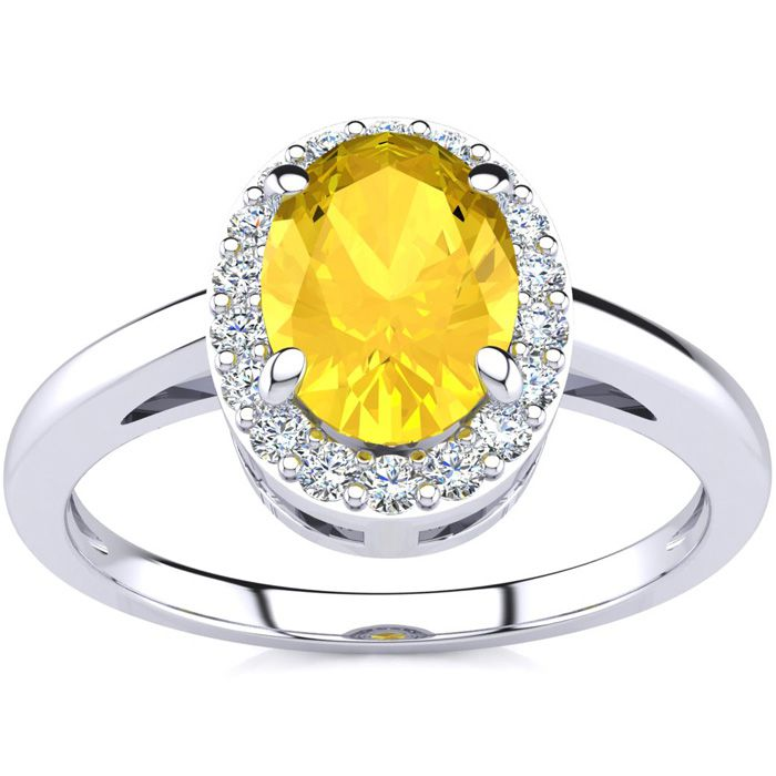 1/2 Carat Oval Shape Citrine & Halo Diamond Ring in 14K White Gol