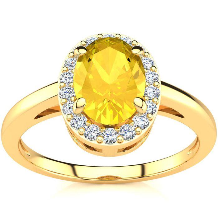 1/2 Carat Oval Shape Citrine & Halo Diamond Ring in 14K Yellow Go
