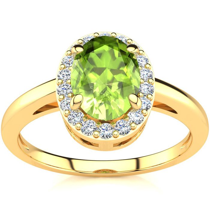 1 Carat Oval Shape Peridot & Halo Diamond Ring in 14K Yellow Gold (3 g), I/J by SuperJeweler