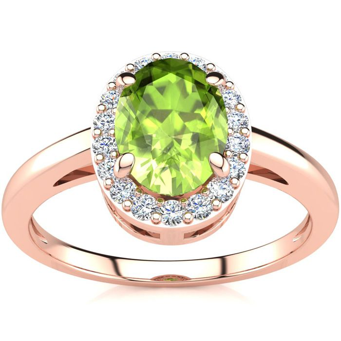 1 Carat Oval Shape Peridot & Halo Diamond Ring in 14K Rose Gold (3 g),  by SuperJeweler
