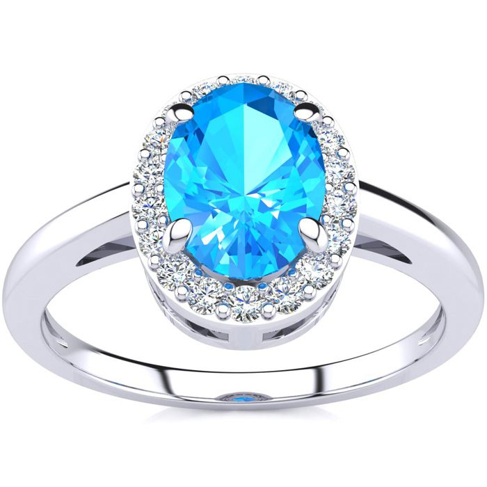 1 Carat Oval Shape Blue Topaz & Halo Diamond Ring in 14K White Go