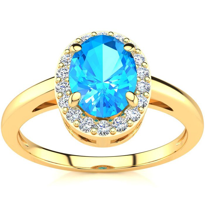 1 Carat Oval Shape Blue Topaz & Halo Diamond Ring in 14K Yellow G
