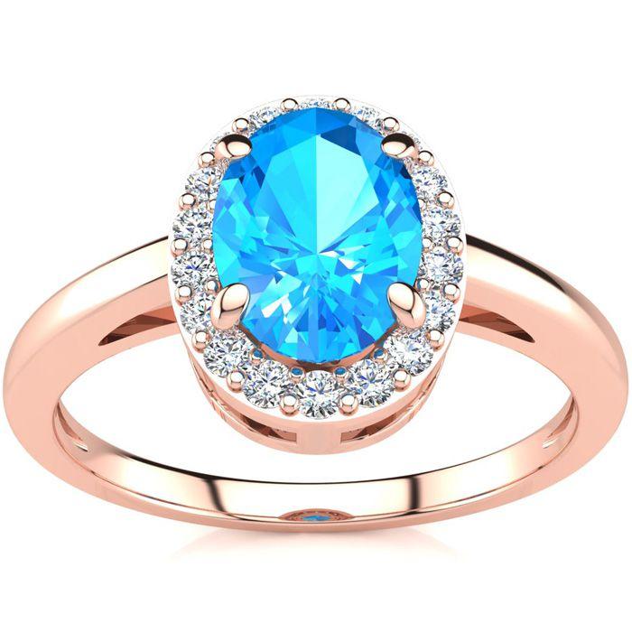 1 Carat Oval Shape Blue Topaz & Halo Diamond Ring in 14K Rose Gol
