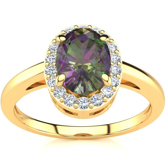 3/4 Carat Oval Shape Mystic Topaz & Halo Diamond Ring in 14K Yell