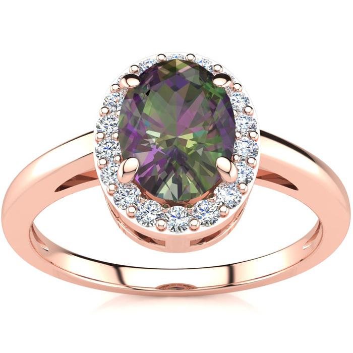 3/4 Carat Oval Shape Mystic Topaz & Halo Diamond Ring in 14K Rose