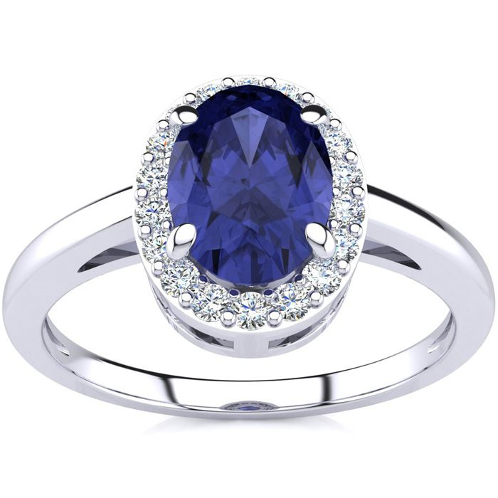 1 Carat Oval Shape Tanzanite & Halo Diamond Ring in 14K White Gol