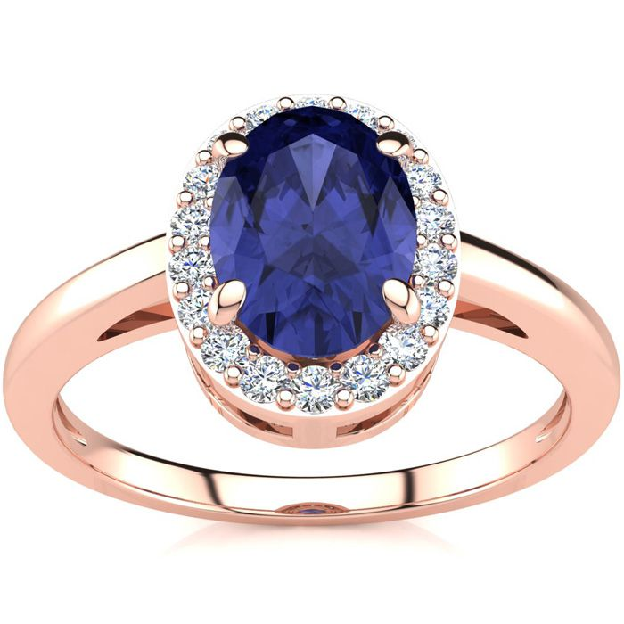 1 Carat Oval Shape Tanzanite & Halo Diamond Ring in 14K Rose Gold