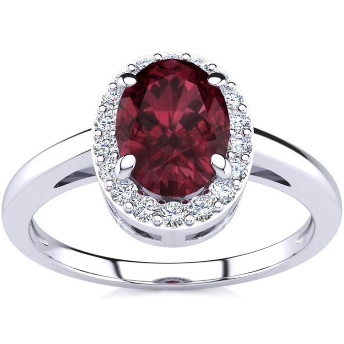 1 Carat Oval Shape Garnet & Halo Diamond Ring in 14K White Gold (